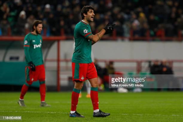 Vedran Corluka of Lokomotiv Moskva gestures during the UEFA Champions League group D match between Lokomotiv Moskva and Bayer Leverkusen at RZD Arena...