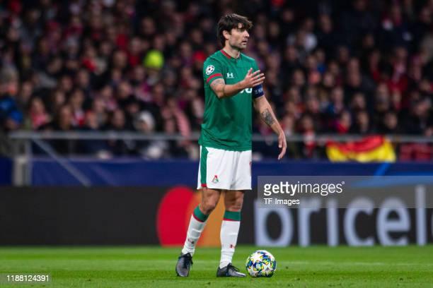 Vedran Corluka of Lokomotiv Moskva gestures during the UEFA Champions League group D match between Atletico Madrid and Lokomotiv Moskva at Wanda...