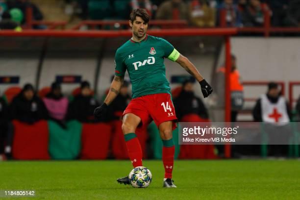 Vedran Corluka of Lokomotiv Moskva in action during the UEFA Champions League group D match between Lokomotiv Moskva and Bayer Leverkusen at RZD...