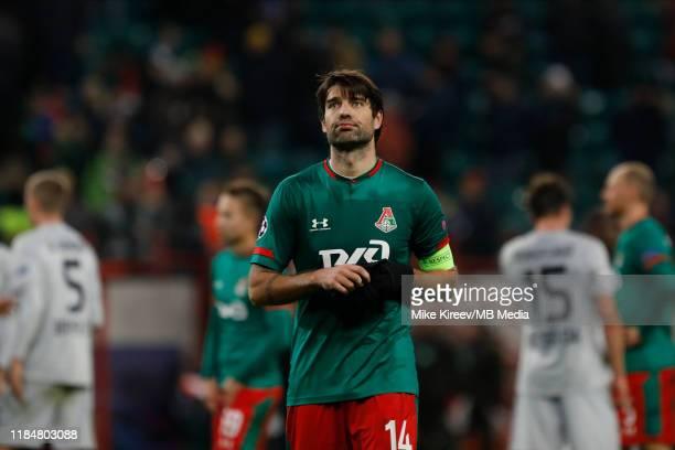 Vedran Corluka of Lokomotiv Moskva reacts on his team defeat during the UEFA Champions League group D match between Lokomotiv Moskva and Bayer...