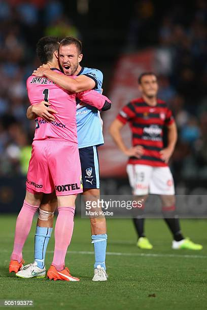 Vedran Janjetovic and Matt Jurman of Sydney FC celebrate victory during the round 15 ALeague match between the Western Sydney Wanderers and Sydney...