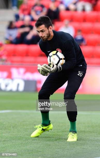 Vedran Janjetovic goal keepr of West Sydney Wanderers warms up before the round eight ALeague match between Adelaide United and the Western Sydney...