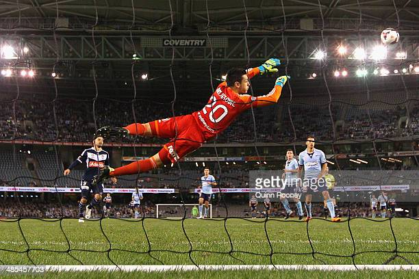 Vedran Janjetovic of Sydney dives to save a goal during the ALeague Elimination Final match between the Melbourne Victory and Sydney FC at Etihad...