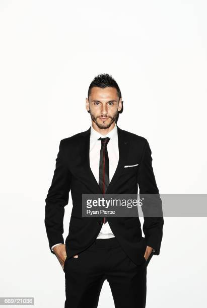 Vedran Janjetovic of the Wanderers arrives ahead of the Western Sydney Wanderers Medal Night at the International Convention Centre on April 18, 2017...