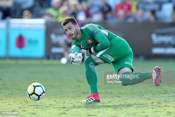 Vedran Janjetovic of the Wanderers delivers the ball during the round 19 ALeague match between the Central Coast Mariners and the Western Sydney...