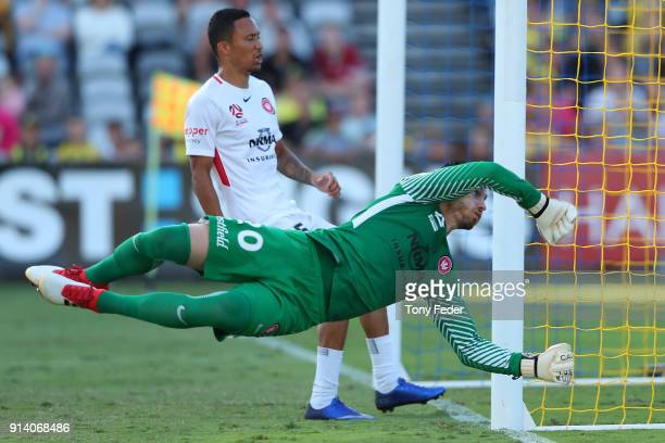 Vedran Janjetovic of the Wanderers dives to attempt a save during the round 19 ALeague match between the Central Coast Mariners and the Western...