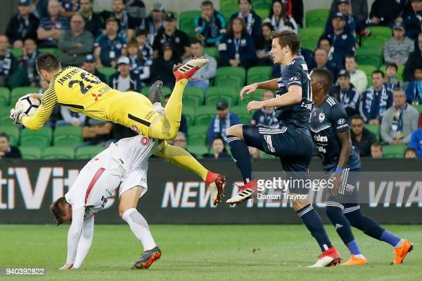 Vedran Janjetovic of the Wanderers jumps to gather the ball during the round 25 ALeague match between the Melbourne Victory and the Western Sydney...