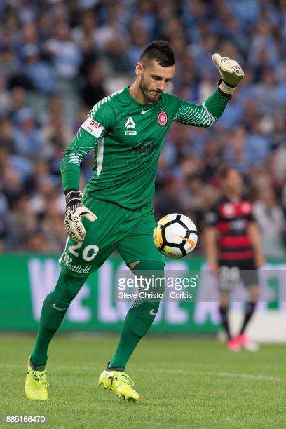Vedran Janjetovic of the Wanderers kicks the ball out to stop play during the round three ALeague match between Sydney FC and Western Sydney...