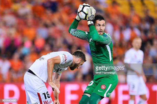 Vedran Janjetovic of the Wanderers makes a save during the round 14 ALeague match between the Brisbane Roar and the Western Sydney Wanderers at...
