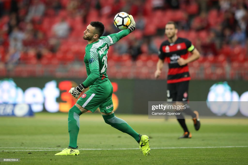Vedran Janjetovic of the Wanderers passes the ball during the round one A-League match between the Western Sydney Wanderers and the Perth Glory at Spotless Stadium on October 8, 2017 in Sydney, Australia.