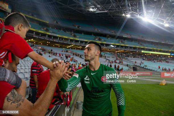 Vedran Janjetovic of the Wanderers thanks fans during the round 26 ALeague match between the Western Sydney Wanderers and the Brisbane Roar at...