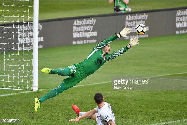 Vedran Janjetovic of the Western Wanderers makes a save during the round 16 ALeague match between the Wellington Phoenix and the Western Sydney...
