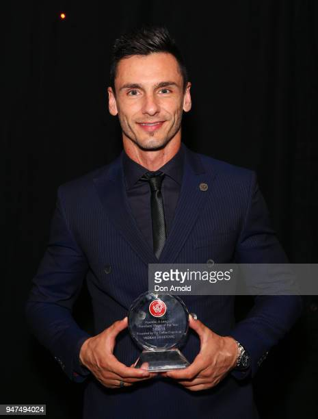 Vedran Janjetovic poses with his award for Members Player of the Year during the Wanderers Medal 2018 on April 17 2018 in Sydney Australia