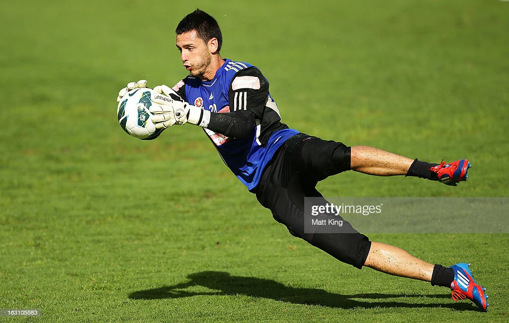 Vedran Janjetovic practises goalkeeping during a Sydney FC A-League training session at Macquarie Uni on March 5, 2013 in Sydney, Australia.