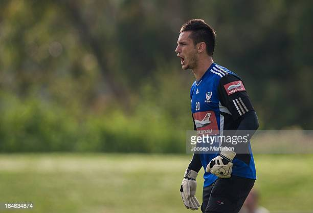 Vedran Janjetovic screams during a Sydney FC training session at Macquarie Uni on March 26 2013 in Sydney Australia
