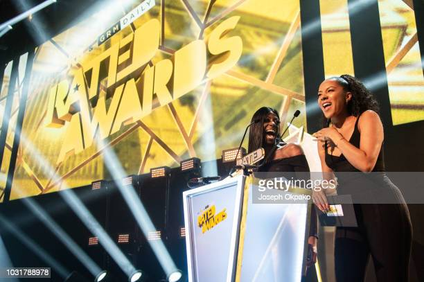 Vee Vee Brown and Yasmin Evans presents Track of the Year award to Not3s and AJ Tracey at UK Grime and Hip Hop event the KA GRM Daily RATED AWARDS...