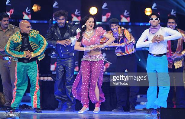 Veena Malik performs at the first episode of the reality show Bigg Boss 4 in Mumbai on October 3 2010