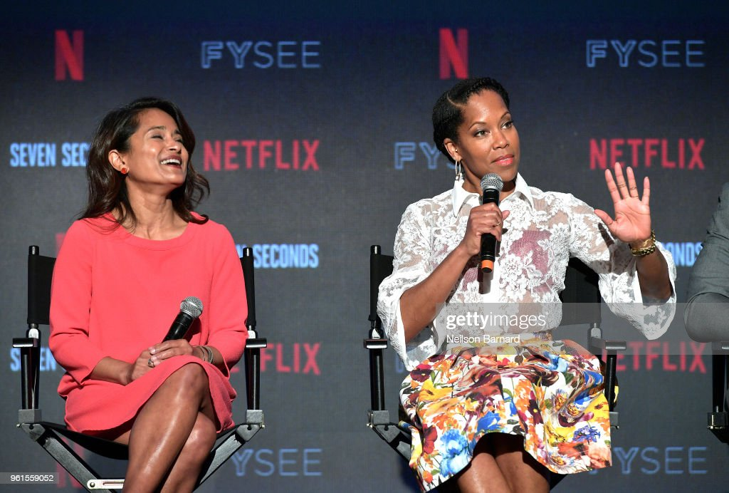 Veena Sud (L) and Regina King speak onstage at the 'Seven Seconds' panel at Netflix FYSEE on May 22, 2018 in Los Angeles, California.