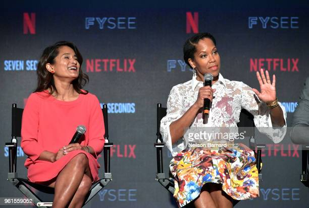 Veena Sud and Regina King speak onstage at the 'Seven Seconds' panel at Netflix FYSEE on May 22 2018 in Los Angeles California