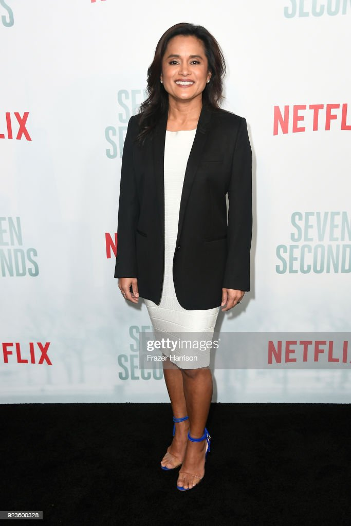 Veena Sud attends the premiere of Netflix's 'Seven Seconds' at The Paley Center for Media on February 23, 2018 in Beverly Hills, California.