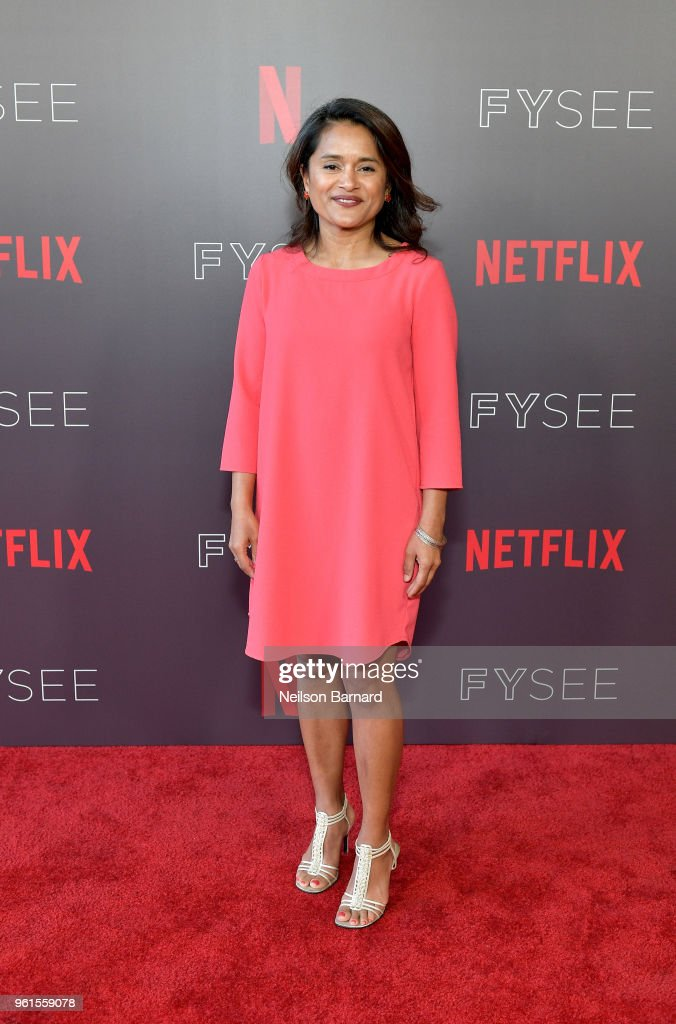 Veena Sud attends the 'Seven Seconds' panel at Netflix FYSEE on May 22, 2018 in Los Angeles, California.