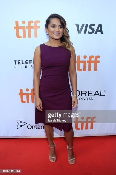 Veena Sud attends the 'The Lie' premiere during 2018 Toronto International Film Festival at Roy Thomson Hall on September 13 2018 in Toronto Canada