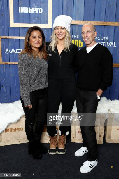 Veena Sud Kaitlin Olson of 'Flipped' and Jeffrey Katzenberg of 'Quibi' attend the IMDb Studio at Acura Festival Village on location at the 2020...