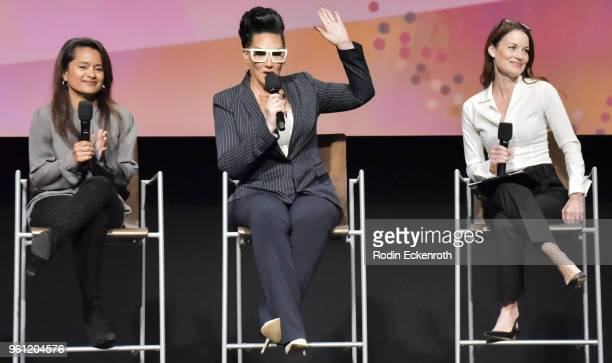 Veena Sud Michelle Visage and Laura LeightonSavant speak onstage at the Women in Entertainment and The Television Academy Foundation's Inaugural...