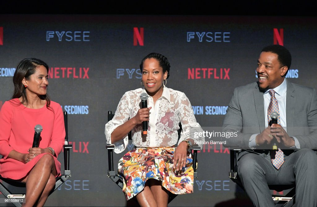 Veena Sud, Regina King, and Russell Hornsby speak onstage at the 'Seven Seconds' panel at Netflix FYSEE on May 22, 2018 in Los Angeles, California.