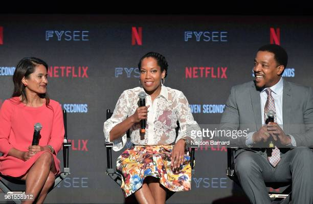 Veena Sud Regina King and Russell Hornsby speak onstage at the 'Seven Seconds' panel at Netflix FYSEE on May 22 2018 in Los Angeles California