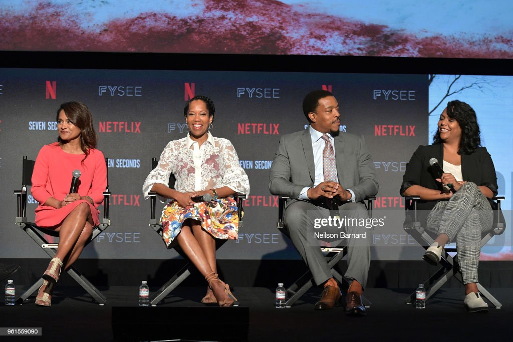Veena Sud, Regina King, Russell Hornsby, and Kristi Henderson speak onstage at the 'Seven Seconds' panel at Netflix FYSEE on May 22, 2018 in Los Angeles, California.