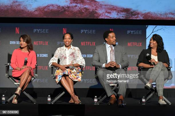 Veena Sud Regina King Russell Hornsby and Kristi Henderson speak onstage at the 'Seven Seconds' panel at Netflix FYSEE on May 22 2018 in Los Angeles...