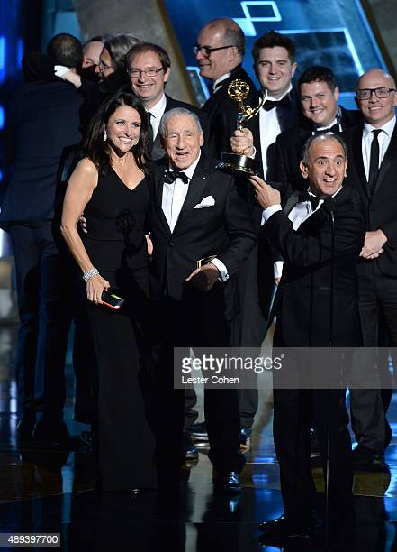 'Veep' actress Julia LouisDreyfus accepts an award from entertainer Mel Brooks onstage during the 67th Annual Primetime Emmy Awards at Microsoft...