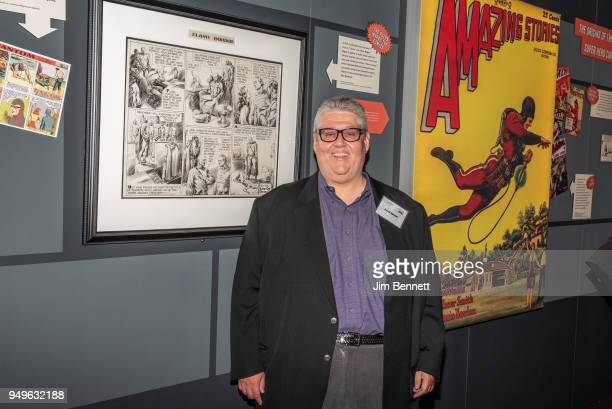 Veep executive producer and showrunner and comics collector David Mandel stands next to comic artwork from his collection that he loaned for the...