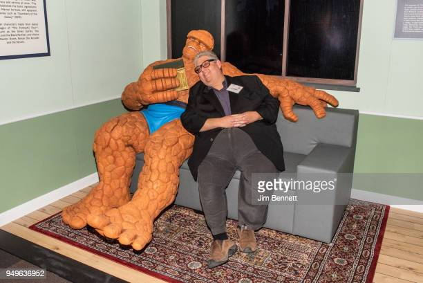 Veep executive producer and showrunner and comics collector David Mandel sits with The Thing during the opening night of the exhibit Marvel Universe...