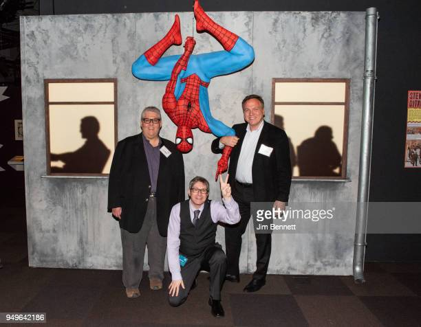 Veep executive producer and showrunner and comics collector David Mandel exhibit curator and professor Ben Saunders and comics collector Charles...