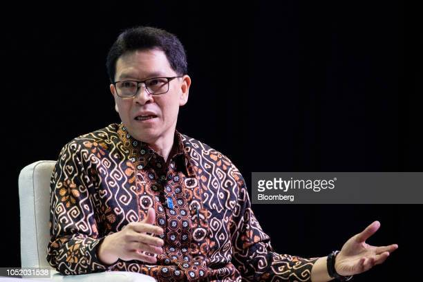 Veerathai Santiprabhob governor of the Bank of Thailand speaks at the International Monetary Fund and World Bank Group Annual Meetings in Nusa Dua...