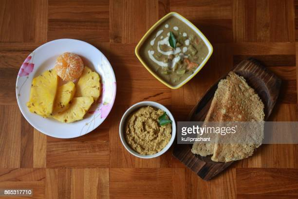 vegan balanced meal - dosa stock photos and pictures