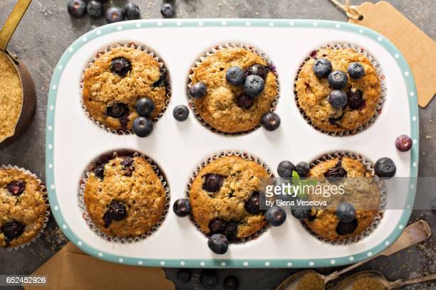 Vegan banana blueberry muffins