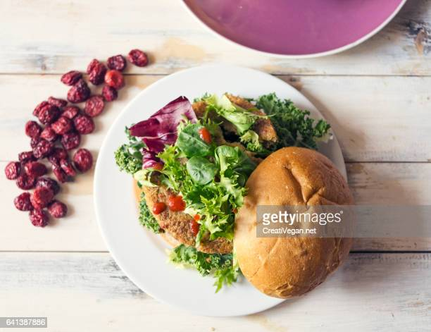 Vegan burger with kale and chicory