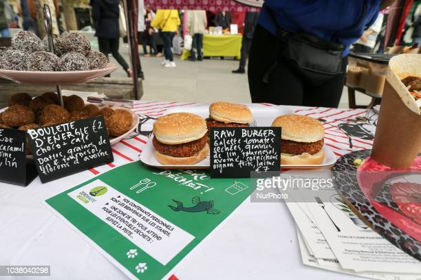 Vegan burgers ready to be eaten at a stall during the 18th Paris Veggie Pride on September 22 2018 in Paris The Paris Veggie Pride is held with the...