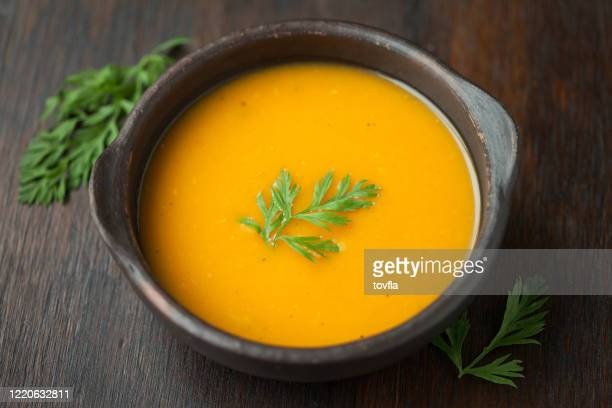 vegan butternut squash soup - pureed stock pictures, royalty-free photos & images