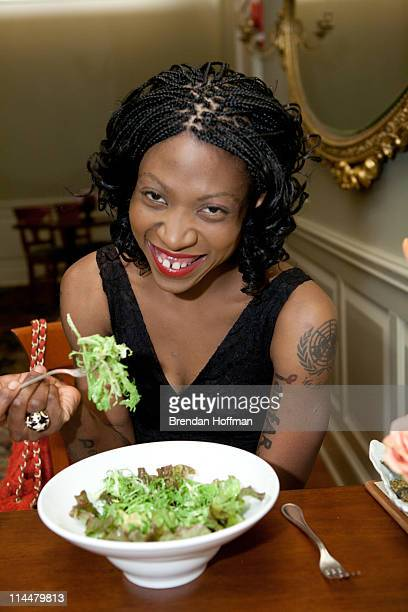 Vegan celebrity activist Suzanne Africa Engo dines on a salad of grapefruit and avocado with pickled ginger and ginger vinaigrette the second course...