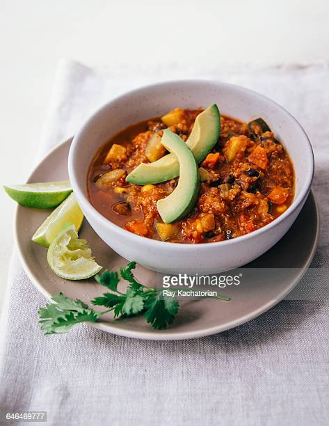 vegan chili - chili stock photos and pictures