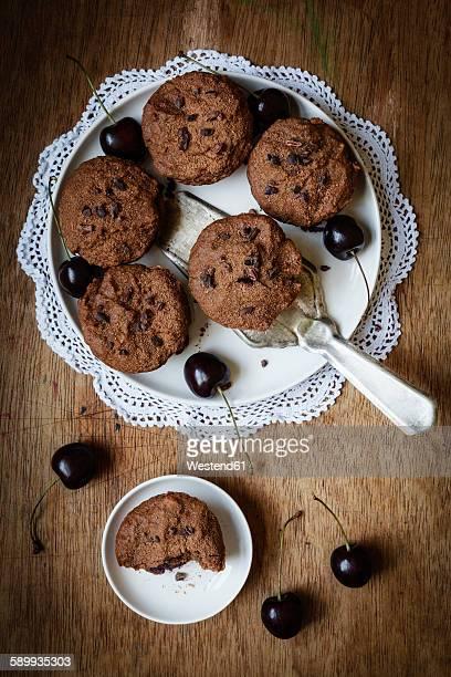 Vegan chocolate muffins with cherries