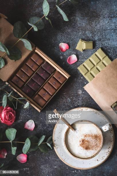 Vegan chocolates, pralines, coffee and roses