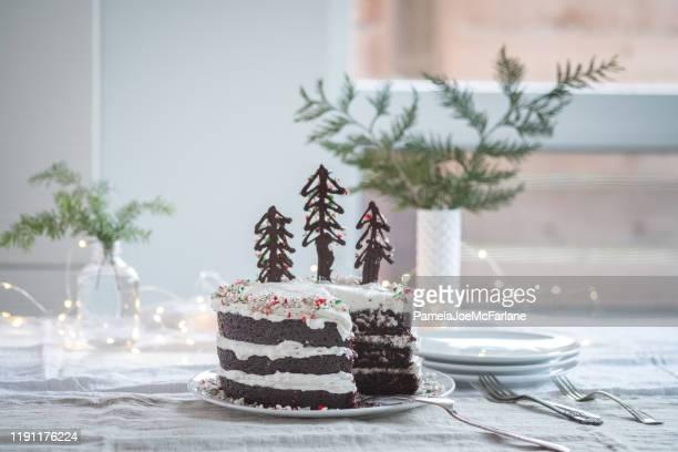 vegan, weihnachten schokolade kuchen verziert mit schokolade candy cane bäume - sloppy joe, jr stock-fotos und bilder