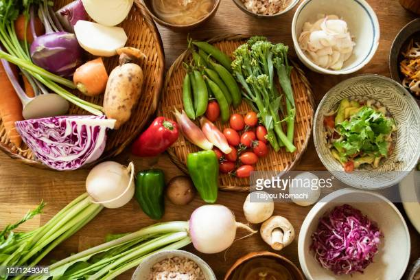 vegan food and ingredients - alimentazione sana foto e immagini stock