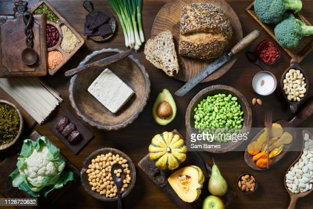vegan food selection - ingredient stock pictures, royalty-free photos & images