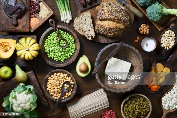 vegan food selection - healthy eating stock pictures, royalty-free photos & images